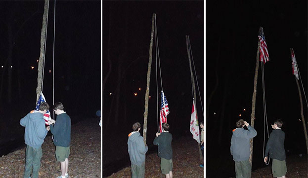 Troop 525 raises Jim's flag