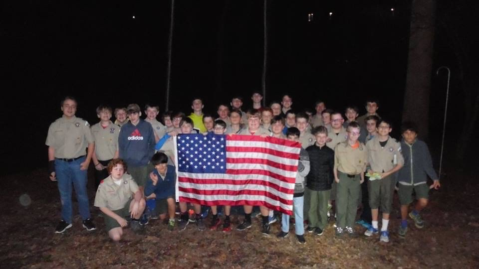 Troop 525 with Jim's Flag