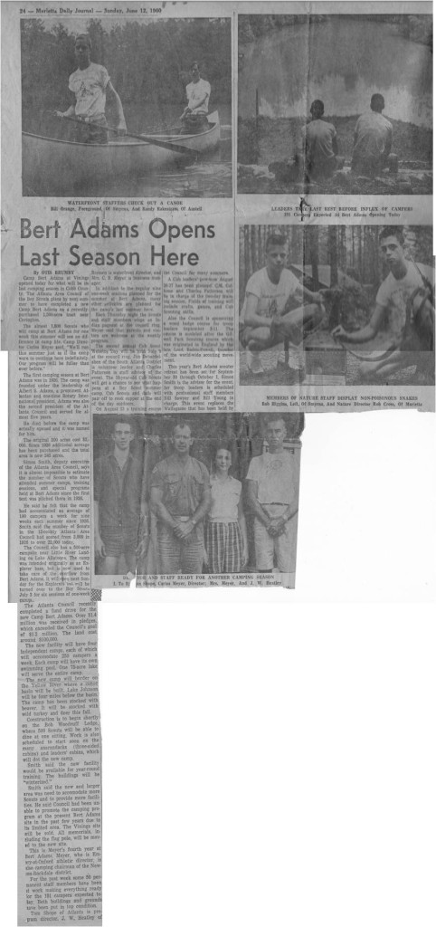 Newspaper article about the last year of old Bert Adams in 1960