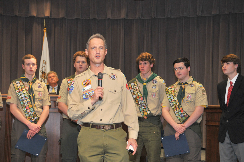 Tracy speaks on the importance of the Eagle Scout rank