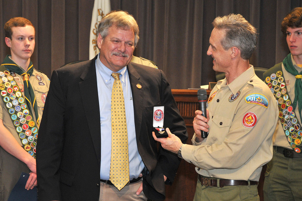 Tracy's overdue presentation of Bob Weatherford's Eagle Scout medal and patch.