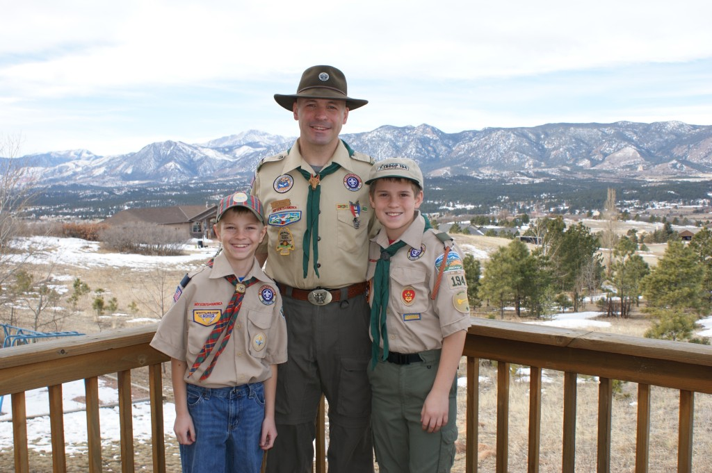 Eagle Scout Jim Borders and his two Scout sons