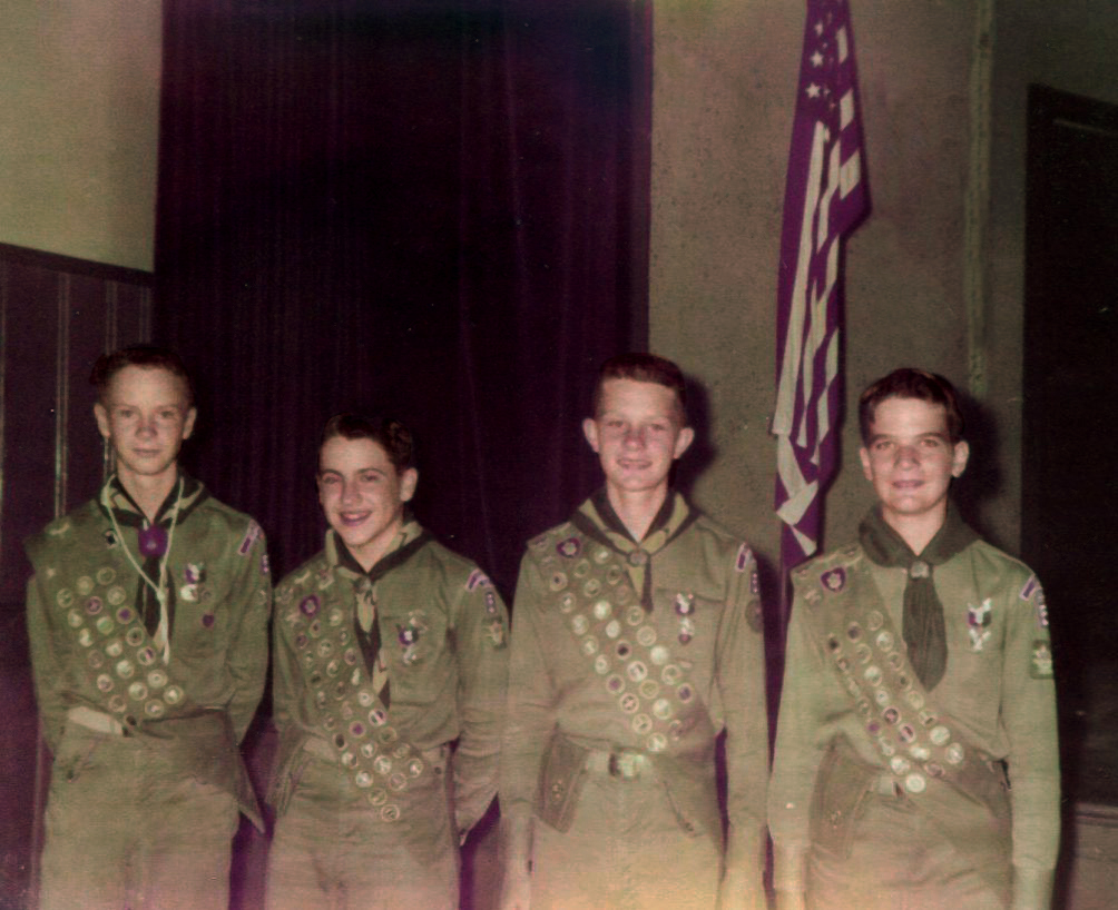 The four Troop 5 Eagle Scouts in 1956