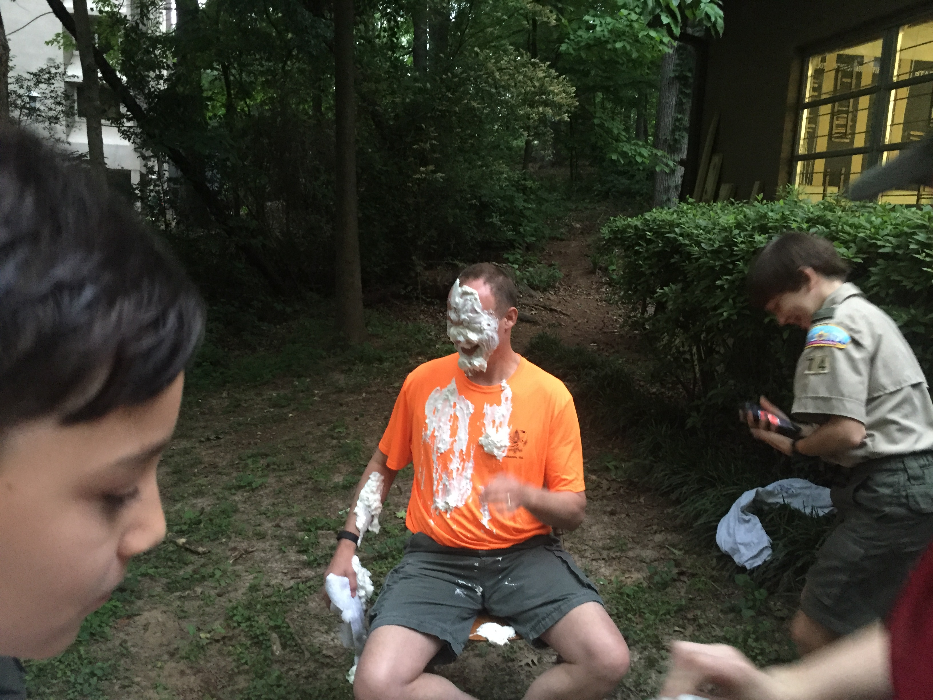 Scoutmaster Tim gets pied