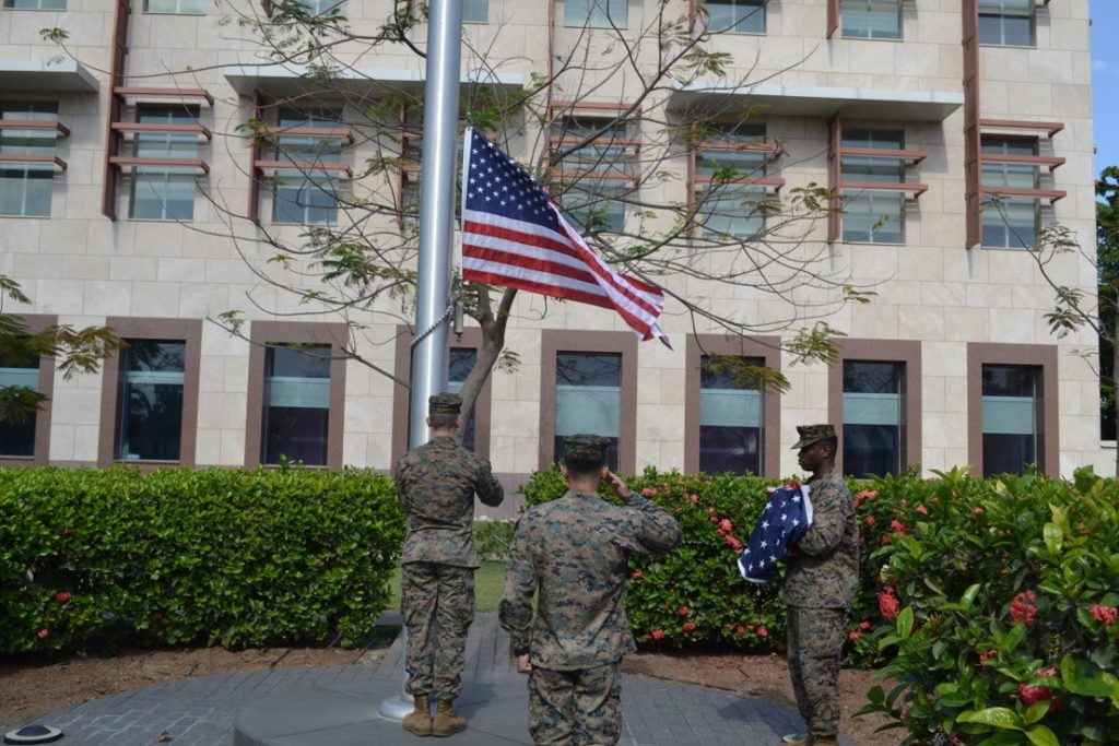 Marines raising my flag at the U.S. Embassy in Port-au-Prince, Haiti, where Jim was deployed in 1994 as part of Operation UPHOLD DEMOCRACY