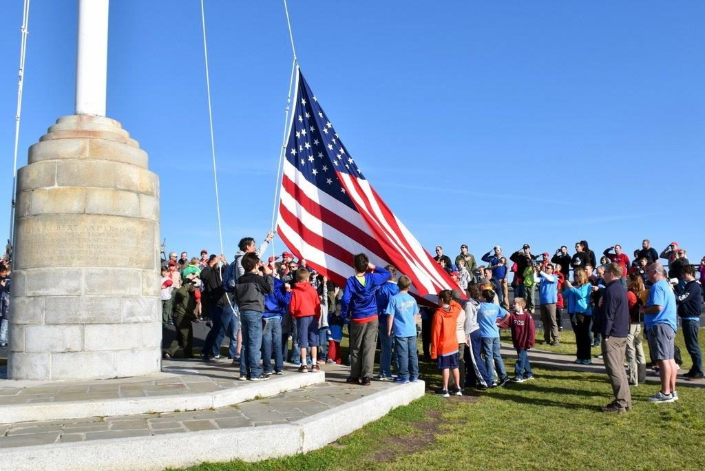 Pack 356 raises the flag over Fort Sumter.