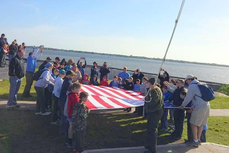 Pack 356 unfolds the flag