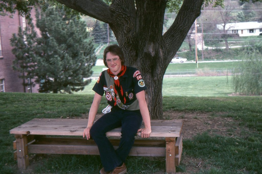 Tracy Techau and the bench he built for his Eagle Scout Project