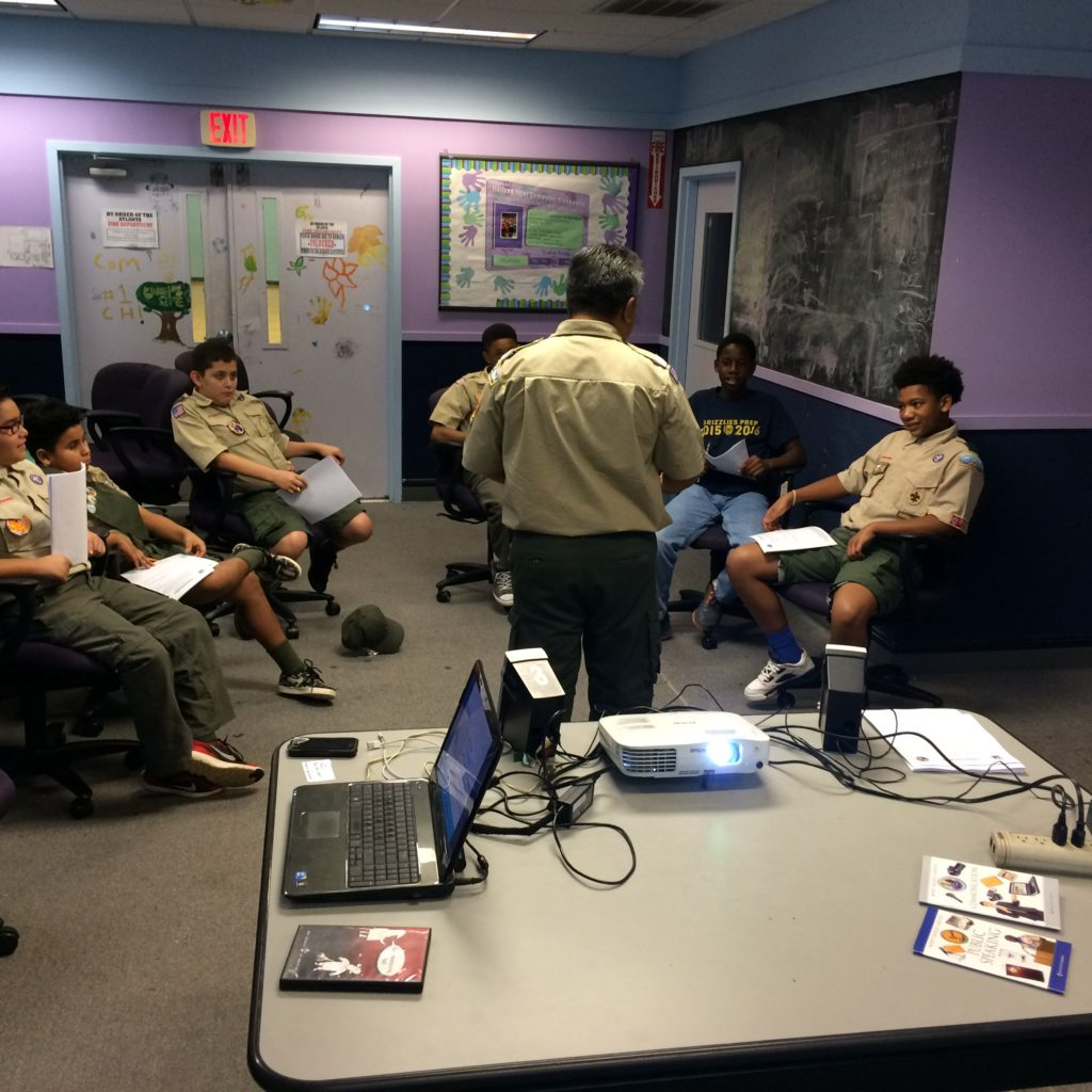 Scouts and Program Specialist David Camacho at the Merit Badge Clinic