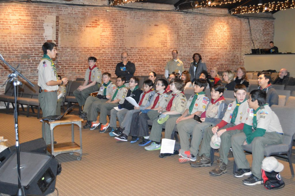 Matthew speaks to other Scouts