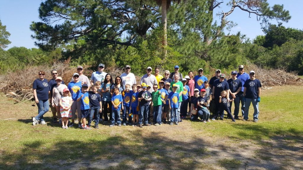 Scouts from Pack 608 after cleaning up Fort Pulaski