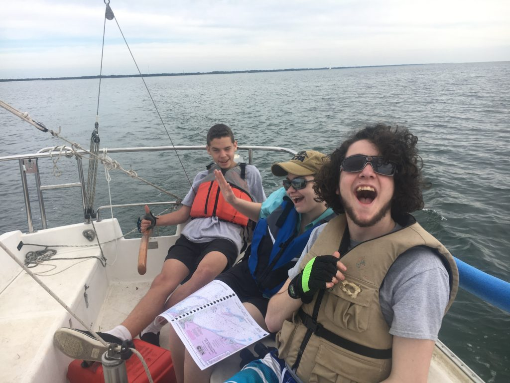 Sea Scouts sailing in the Saint George Sound