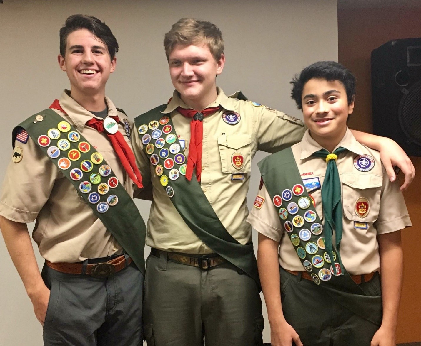 The three new Eagle Scouts from Troop 994
