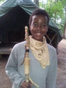 Tion after winning the Spirit Stick at Woodruff Scout Camp
