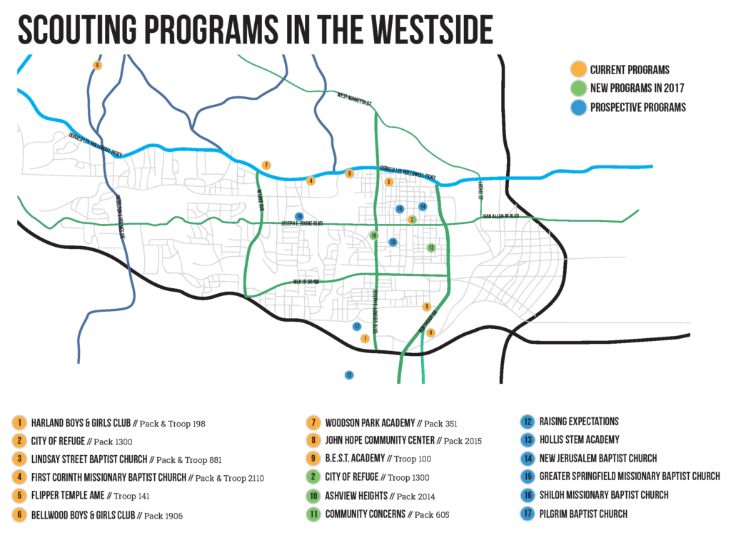 A Map of Scouting units on Atlanta's Westside