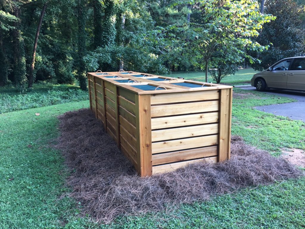 The four bin composting system that earned Ben the Adams Award for Outstanding Eagle Scout Service Project